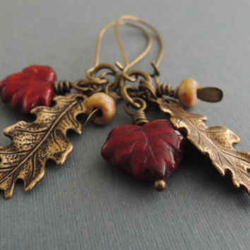 Fall Charms Earrings Scarlett Red Maple Leaves Antiqued Brass Oak Leaves Rustic Seed Pods Autumn Walk in the Woods Oxblood Nature Woodland