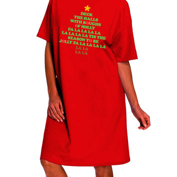 Deck the Halls Lyrics Christmas Tree Dark Adult Night Shirt Dress