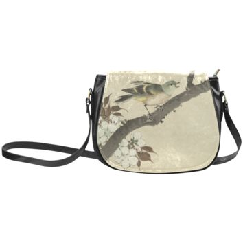 Women Shoulder Bag Oriental Birds On Blossom Branch Classic Saddle Bag Large