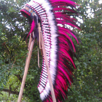 EXTRA LONG Native American Headdress, Indian Costume, Indian Headdress, Tee pee, Pow wow, Edc, Warriors hat, Indianer, Burning man