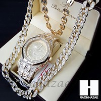 Iced Out Gold Finished Simulated Migos Watch Puffed Gucci Cuban Chain CW01