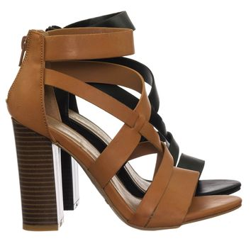 Faith32 Retro Vintage Chunky Block Heel Open Toe Gladiator Strappy Sandal