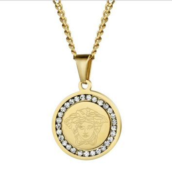 18K Gold Classic Rhinestones VERSACE Pendant Necklace Hip Hop Jewelry