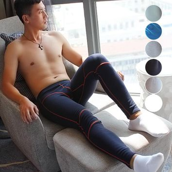 Brand New 2016 warm cotton thermal underwear sexy solid color underwear man long johns underpants leggings Size M L XL HJL913