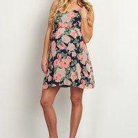 Navy-Blue-Neon-Floral-Chiffon-Maternity-Dress
