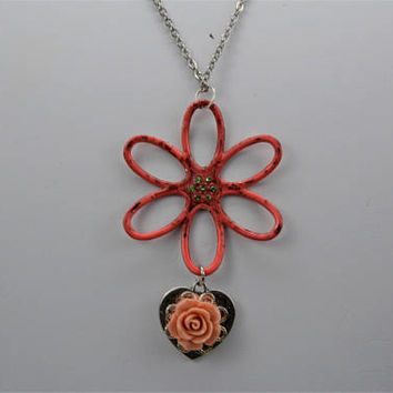 Flower Pendant, Flower Necklace, Flower Necklace with Charm
