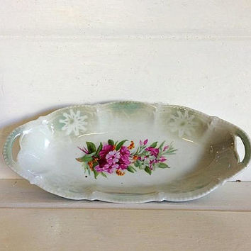 German Lusterware, Germany Porcelain, Vintage Relish Dish, Relish Porcelain Bowl, Celery Dish, Vintage German China, Made in Germany, Relish
