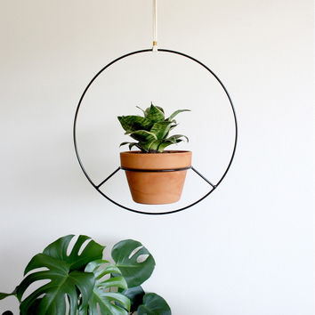 Hanging Planter - Black Metal