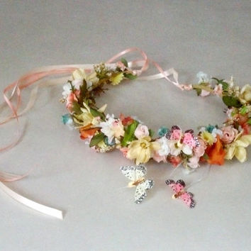 wedding floral headpiece Butterfly Kisses flower crown Bridal hair wreath accessories spring peach yellow teal mix colors halo