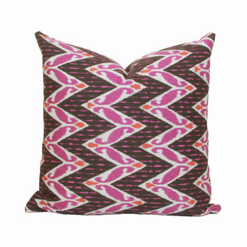 Pink brown ikat pillow cover 18x18 20x20 22x22 24x24 26x26 Euro sham Pink Lumbar pillow Brown pink pillow 12x20 12x24 14x26 16x24 16x26