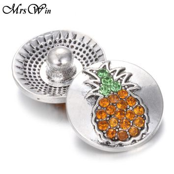 10pcs/lot 2017 New Pineapple 18mm Rhinestones crystal snap buttons with copper button for bracelets and necklace jewelry