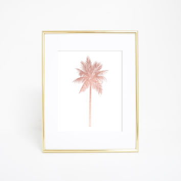 Rose Gold Palm Tree Tropical Wall Art Print