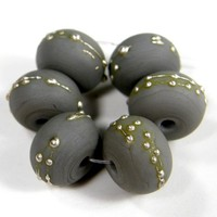 Dark Gray Lampwork Beads Opaque Handmade Glass Etched Silver 252efs