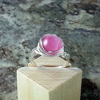 Pink Cats Eye Sterling Silver Ring, pink fashion ring, silver wrap ring sizes 3 4 5 6 7 8 9 10 11 12 and half sizes. Made to order