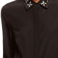 Button Thru Blouse With Embellished Collar - DKNY