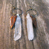Quartz Crystal Earrings Leaf Earrings