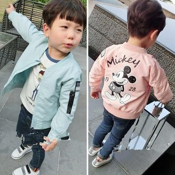 Jacket New Arrival Clothing For Baby Girls Boys Coat Cartoon Printed Flight jacket Autumn Kids Outerwear Children Clothes