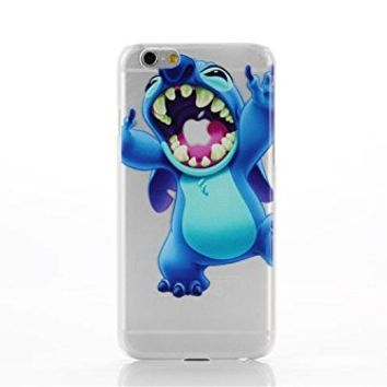 PBYE For iPhone 6 4.7'' Lovely Disney Cartoon Lilo and Stitch Eating/ Grabbing Apple logo Cute Clear Case Cover for Iphone 6 Xmas Gift (color 04#)