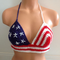 Patriotic American flag Crochet halter top Bikini Crop top Patriotic Crop Top