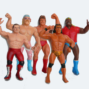 Vintage 80s WWF Action Figure Collectibles Set of 5 - 80s Titan Sports LJN Toy- Mr. Wonderful British Bulldog Jesse the Body Ventura