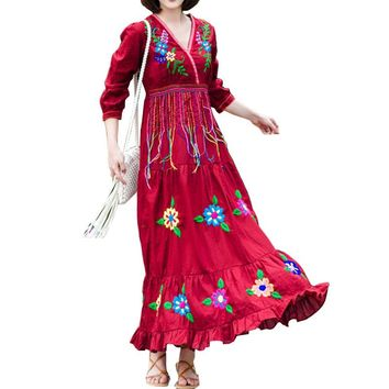Gypsy Floral Embroidery Vestidos Ethnic Embroidered Long Fable Dress Tassel V Neck Ruffled High Waist Boho Maxi Dress Tribe