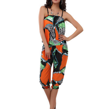 Orange Animal Print Strappy Jumpsuit