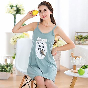 Free shipping Modern spaghetti strap vest nightgown female season thin sexy 100% modal cotton plus size maternity sleepwear