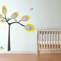 Modern tree with birds wall decal, decal, wall sticker, wall graphic, vinyl decal, vinyl graphic wall decal, graphic image, kids room