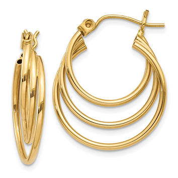 14k Triple Hoop Earrings Z1150
