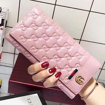 GUCCI Fashion New More Letter Leather Clutch Bag Wallet Purse Women Pink