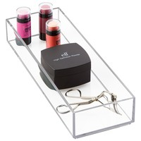 "mDesign Cosmetic Drawer Organizer for Vanity Cabinet to Hold Makeup, Beauty Products - 4"" x 12"" x 2"", Clear"