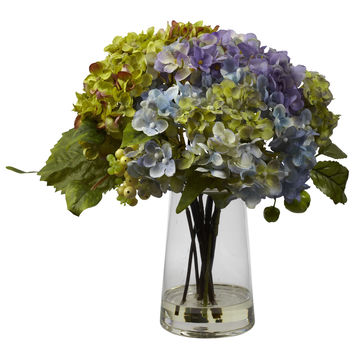 Hydrangea w/Glass Vase Arrangement