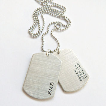 Personalized Dog Tag Necklace Husband Gift Custom Hand Stamped Necklace Grooms Gift Groomsmen Gift Anniversary Gift