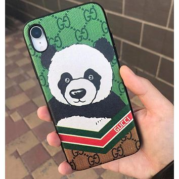 GUCCI Cute Cartoon Panda Pattern Mobile Phone Cover Case For iphone 6 6s 6plus 6s-plus 7 7plus 8 8plus X XsMax XR