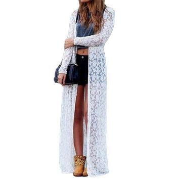 Long Cardigan tops Women Floral Lace Kimono Semi Sheer Solid Open Front Elegant Beach Cover Up Plus Size 3XL 4XL 5XL