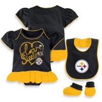 NFL Pittsburgh Steelers 3-Piece Girl Creeper Bib and Bootie Set