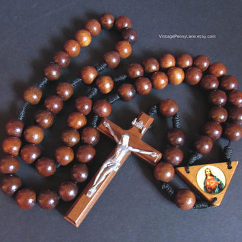 Large Vintage Wood Rosary Bead Chain, Wooden Rosary Beads, Boho Home Decor