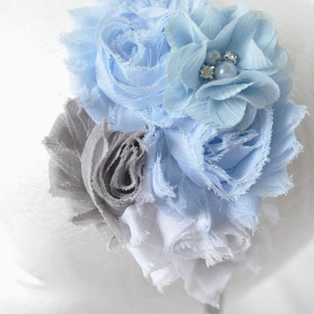 Icy Blue floral headband, Women's flower headband, Blue headband, Girls flower headband, Adult flower headband, Blue and grey headband