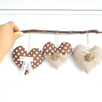Polka dotted fabric hearts, autumn hearts, home decor, ornament, shabby chic, country style