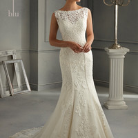 Blu by Mori Lee 5262 Satin and Lace Mermaid Wedding Dress