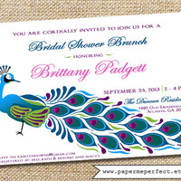Bridal Shower Invitation - Elegant Peacock - Pink, Purple, Navy, Turquoise