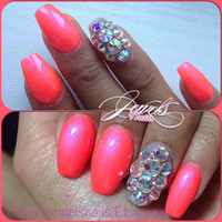 Coral Swarovski AB High Quality Press On Nails False nails fake nails  Custom Nails Gel Nail art