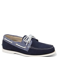 SUEDE AND CHAMBRAY BOAT SHOE