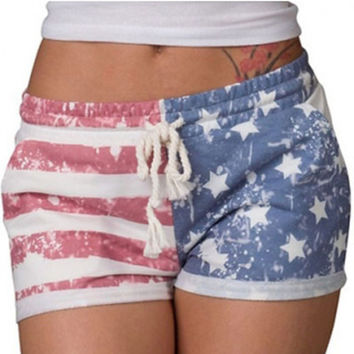 2017 Summer Beach Women Shorts Elastic Mid-waist American Flag Print Women Casual Shorts Drawstring  Short Pants