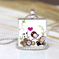 Cute Little Bird  -1 inch Pendant  Tray