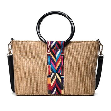 Handwoven Straw Aztec Embroidery Straw Messenger Bag