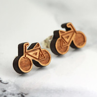bicycle stud earrings, ride on, sterling silver, cherry wood, eco friendly, boho, bohemian