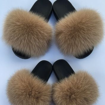 Mommy Mini Me fox fur slides