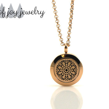 Diffuser Necklace - Rose Gold Flower