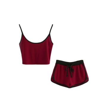 Women Ringer Brief Crop Top With Drawstring Shorts Summer Color Block Two Piece Set